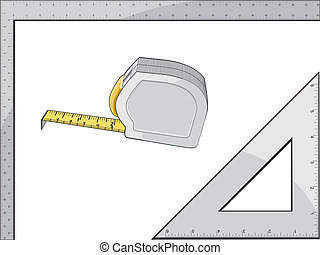 Tape Measure Square and Triangle - Illustration of a tape...