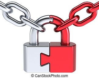 Padlock as puzzle security system - Lock padlock security...