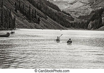 Canoeing on the magnificent Lake Louis - Paddling in a canoe...