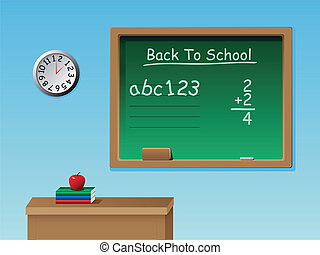 Vector Back To School - A vector of a classroom with a desk,...