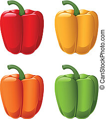 Sweet Peppers - A vector of all sweet pepper colors