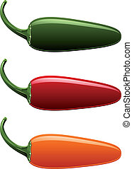 Jalapeno Peppers - A vector of all jalapeno pepper colors