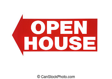 Open house sign - An open house sign isolated on white for...