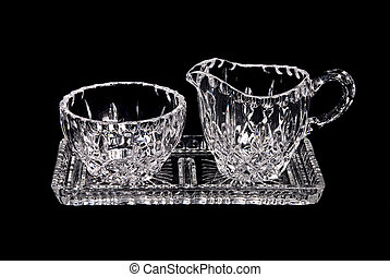 Cream and sugar crystal serving dishes - Crystal serving...