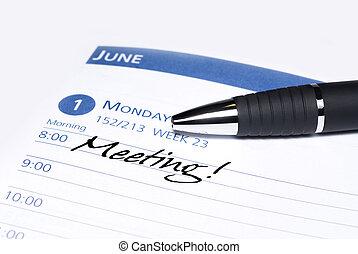 calendrier, réunion, rappel