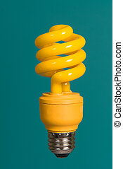 Isolated yellow light bulb