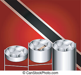 Steel Pan Drums - Vector Illustration of flag with three...