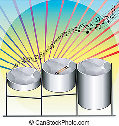 Steel Pan Drums - Vector Illustration of three variations of...