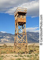 Manzanar guard tower - replica of Manzanar guard tower at US...