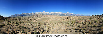 Alabama Hills Panorama with the Sierra Nevada Mountains...