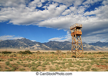 Manzanar camp - Manzanar concentration camp site with guard...