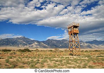 Manzanar camp - Manzanar concentration camp site with guard...
