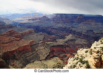 Grand Canyon with storm - Grand Canyon from Moran Point on...