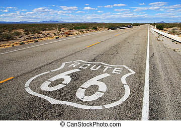 route 66 road leads towards the distant horizon in southern...