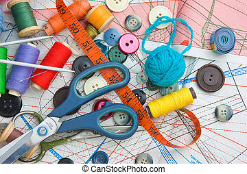 sewing supplies on the background patterns