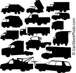 trucks - vector set of various trucks