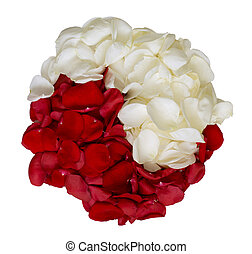 Aroma yin-yang - Red and white rose petals as a symbol of...