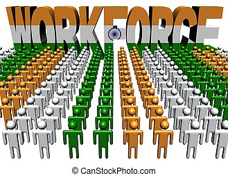 people with workforce Indian flag text illustration - lines...
