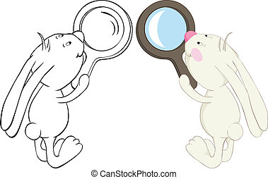 bunny and loupe - Rabbit and magnifier. Color and outline...