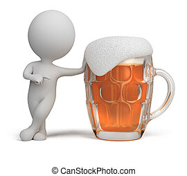 3d small people - beer - 3d small person standing next to a...
