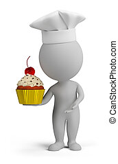 3d small people - confectioner with cupcake - 3d small...
