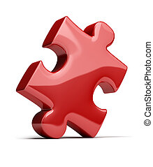 puzzle - red shiny puzzle. 3d image. Isolated white...
