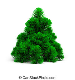 small pine - 3d small green pine. 3d image. Isolated white...