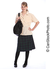 Secondary education pretty girl in school uniform - Happy...