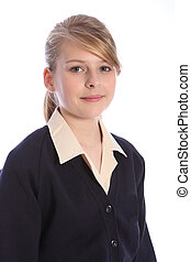 Secondary school portrait blonde teenage girl - School...