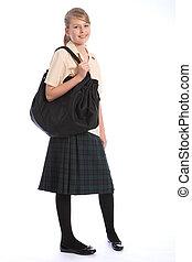 adolescente, niña, escuela, uniforme, hombro, bolsa
