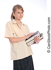 ティーンエージャーの, 勉強しなさい, 学校, 高く, 学生, 時間, 女の子