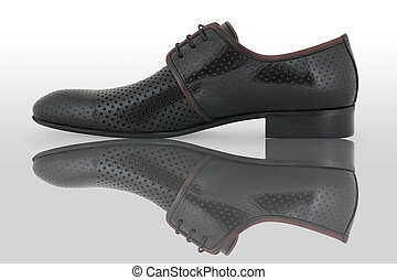 Black male shoes - Black male shoe with reflection