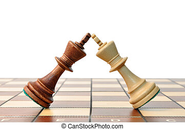 kings chess duel, kings in battle on the chessboard