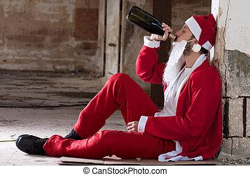 alcoolique, Santa, boire, vin, bouteille