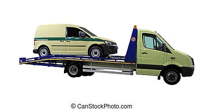 tow car under the white background