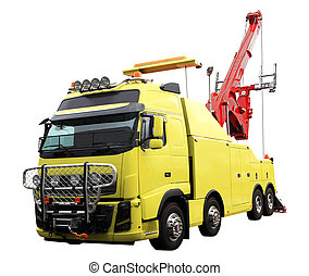 heavy duty wrecker used for towing semi trucks. Isolated on...