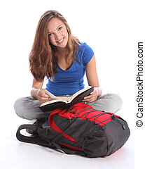Teenage student girl reading school study book - Study time...