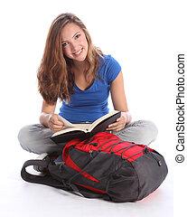 adolescente, estudante, menina, leitura, escola, estudo,...