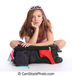 Holiday blues for teenager girl fed up packing - Beautiful...