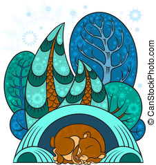 Winter forest - A winter forest, trees in the snow, the bear...