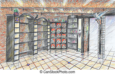 Interior of wineshop - Hand drawn interior of wineshop in...