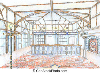 Sketch of hall of common building