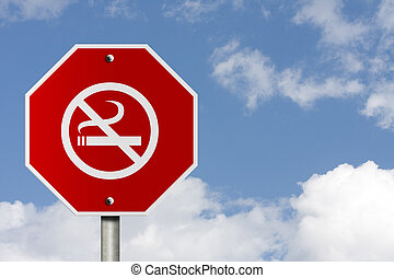 Stop Smoking Sign - An American road stop sign and no...