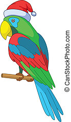 Parrot Santa Claus - Christmas cartoon: parrot in Santa...