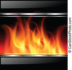 background - Background with vector fire, flames and...