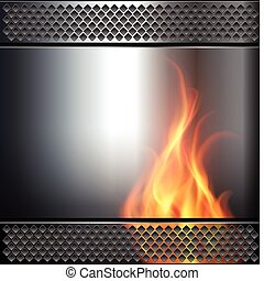 Abstract background, metallic with vector fire flame