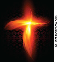 Abstract background with burning fire cross, vector.
