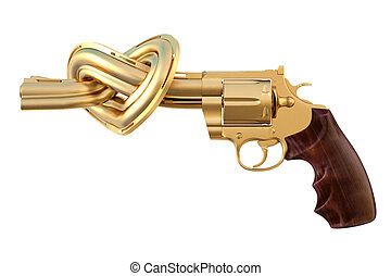 revolver - golden revolver with the barrel tied in a...