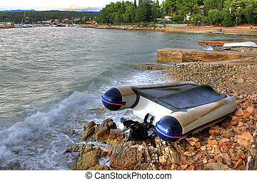 Boat crashed on the sea shore after strong storm - Boat...
