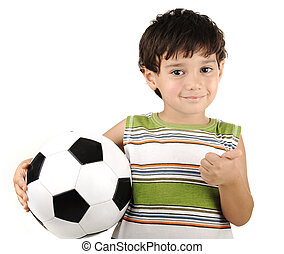 Cute boy with ball isolated